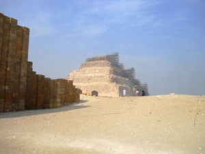 Entrance to the complex of Djoser in Saqqara and the step pyramid
