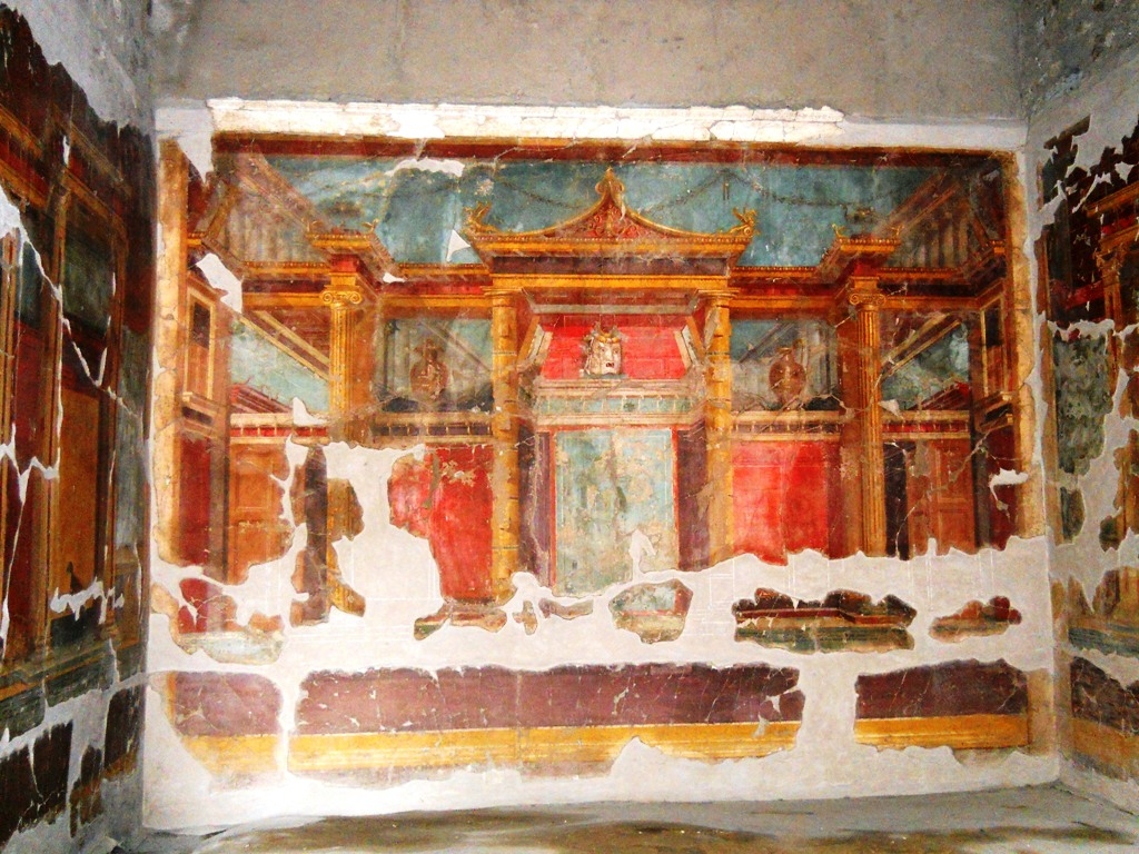 Some frescoes in the Villa of Poppaea.